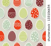 Seamless easter pattern with colorful eggs - stock vector
