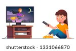 smiling kid watching tv ... | Shutterstock .eps vector #1331066870