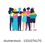 diverse women friend group... | Shutterstock . vector #1331076170