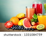 tasty fruits and juice with... | Shutterstock . vector #1331084759