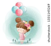 cute little girl holding... | Shutterstock .eps vector #1331145269