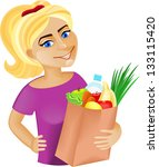 a young woman holding a bag... | Shutterstock .eps vector #133115420