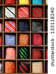 ties on the shelf of a shop.... | Shutterstock . vector #133118240