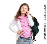 schoolgirl with backpack... | Shutterstock . vector #133118336