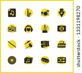 melody icons set with drums ...
