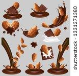 almond nut in chocolate splash  ... | Shutterstock .eps vector #1331271380
