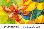 painted wildflowers. flora ... | Shutterstock . vector #1331290136