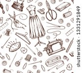 sewing seamless pattern. tools...   Shutterstock .eps vector #1331291849