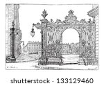 Place Stanislas, in Nancy, Lorraine, France, showing grill ironwork gate, vintage engraved illustration. Dictionary of Words and Things - Larive and Fleury - 1895 - stock vector