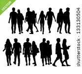 couples silhouettes vector | Shutterstock .eps vector #133130504