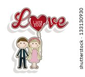 illustration of couple in love  ... | Shutterstock .eps vector #133130930