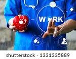 doctor pressing button work... | Shutterstock . vector #1331335889