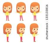 set of funny cartoon girl | Shutterstock .eps vector #133133816