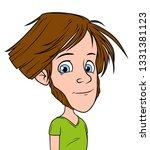 cartoon brunette long haired... | Shutterstock .eps vector #1331381123