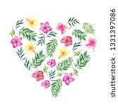 heart with watercolor tropical... | Shutterstock . vector #1331397086