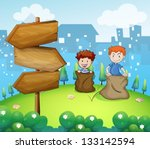 illustration of the two boys... | Shutterstock .eps vector #133142594