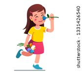 girl smelling flower. kid... | Shutterstock .eps vector #1331426540