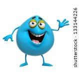 3d cartoon cute blue monster | Shutterstock . vector #133144226