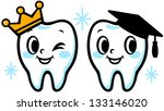 happy smiling tooth  graduation ... | Shutterstock .eps vector #133146020