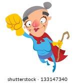super hero grandmother flying | Shutterstock .eps vector #133147340
