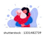 happy friendship day. two girls ... | Shutterstock .eps vector #1331482739