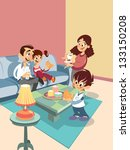 cartoon happy family at the... | Shutterstock .eps vector #133150208