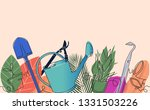 backgroun with garden tools and ... | Shutterstock .eps vector #1331503226