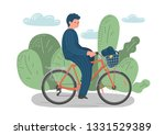 cycling man. hand drawn woker...   Shutterstock .eps vector #1331529389