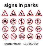 znaki parks.park prohibited... | Shutterstock .eps vector #133152959