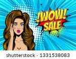 beautiful brunette pop art girl ... | Shutterstock .eps vector #1331538083
