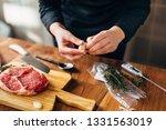 overhead shot of chef preparing ...   Shutterstock . vector #1331563019