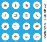 culinary icons colored line set ... | Shutterstock .eps vector #1331585969