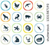 fauna icons set with mandrill ... | Shutterstock . vector #1331587193