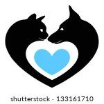 Stock vector cat and dog in the heart 133161710