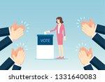 businesswoman putting voting... | Shutterstock .eps vector #1331640083