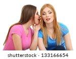 two girl friends gossip... | Shutterstock . vector #133166654