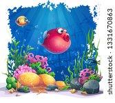 undersea world with fish....   Shutterstock .eps vector #1331670863