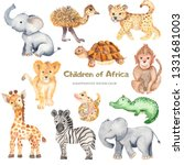 Stock photo watercolor cute cartoon african animals zebra giraffe crocodile elephant lion for cards 1331681003