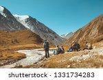 big group of hikers having rest ... | Shutterstock . vector #1331734283