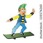 punk on a skateboard  vector... | Shutterstock .eps vector #133176260