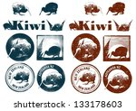 set of kiwi grunge icons ... | Shutterstock .eps vector #133178603