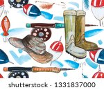 Watercolor Sketch Hat Fishing...
