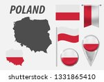 Stock vector poland collection of symbols in colors national flag on various objects isolated on white 1331865410
