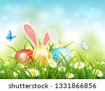 easter theme with bunny ears... | Shutterstock . vector #1331866856