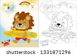 vector cartoon of funny lion... | Shutterstock .eps vector #1331871296
