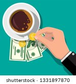 cup with coffee  cash and coins.... | Shutterstock .eps vector #1331897870