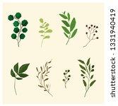 vector set with botanical leaf  | Shutterstock .eps vector #1331940419