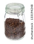 Coffee Beans In A Jar Isolated...