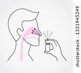 man using nasal spray simple...   Shutterstock .eps vector #1331945249