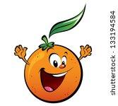a happy orange waving its hands | Shutterstock .eps vector #133194584